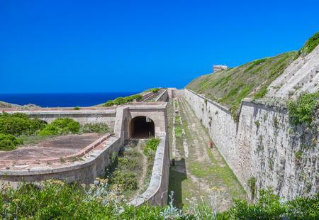 La Mola Fortress of Isabel II in Mahon harbor, Menorca island, Spain. Stock Photo