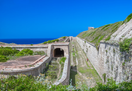 menorca: La Mola Fortress of Isabel II in Mahon harbor, Menorca island, Spain. Stock Photo