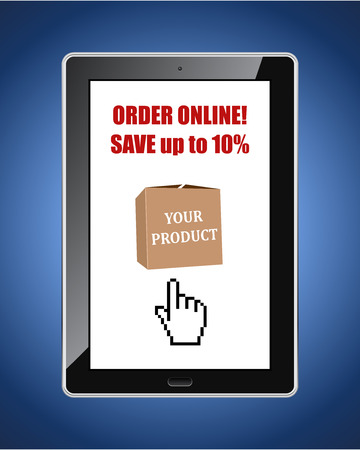 internet sale: Online shop discount web banner with tablet pc on blue background vector template. Internet service sale poster.