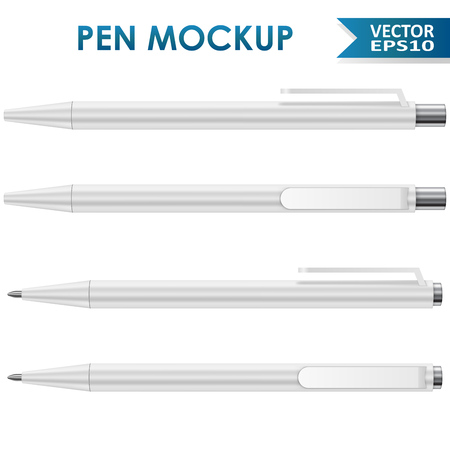 ball pens stationery: White office ball pen isolated on white background vector mockup.