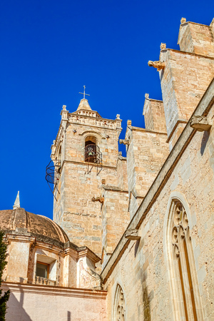 menorca: Bell tower of Old Santa Maria Cathedral at Ciutadella, Menorca island, Spain.