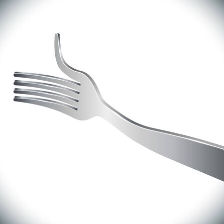 thumbup: Silver fork giving a thumb-up concept image symbolizing tasty and delicious restaurant course. Vector illustration. Illustration
