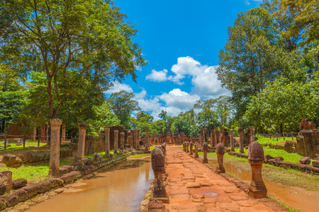 Banteay Srei Temple main entrance alley on sunny summer day, Siem Reap, Cambodia. Stock Photo