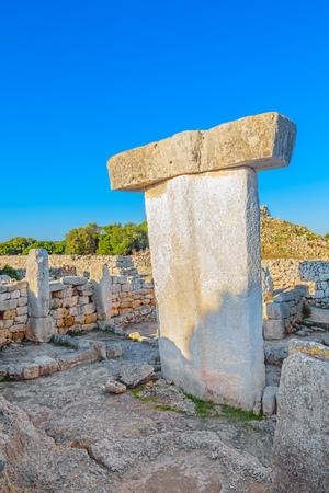 Taula de Torralba den Salord ancient megalithic stone table, Menorca island, Spain. Stock Photo