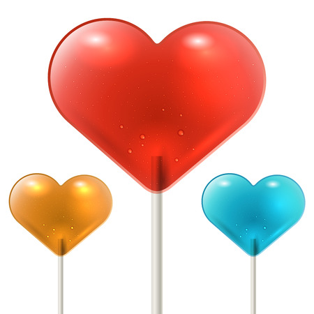 Red heart shaped lollipop on white background with yellow and blue variants. St. Valentines day symbol. Vector illustration.