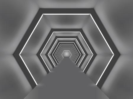 passage: Futuristic illuminated hexagon shaped passage vector illustration.  Sci-fi tunnel interior.