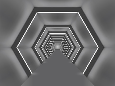 Futuristic illuminated hexagon shaped passage vector illustration.  Sci-fi tunnel interior.