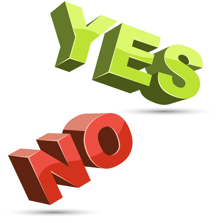 Yes and no 3D shapes flat color design . Vector illustration.