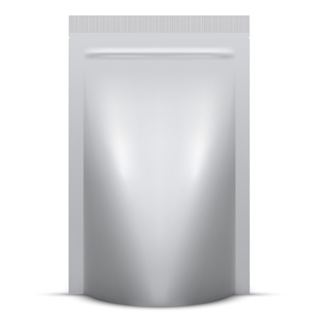 Blank soft standing packaging with zip lock isolated  . Vector illustration. Vettoriali