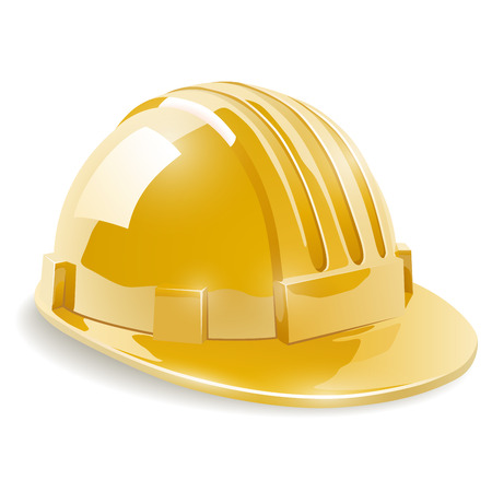 Yellow construction safety helmet isolated  . Vector illustration.