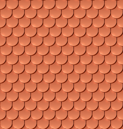 slate roof: Copper tiles roof  vector pattern.