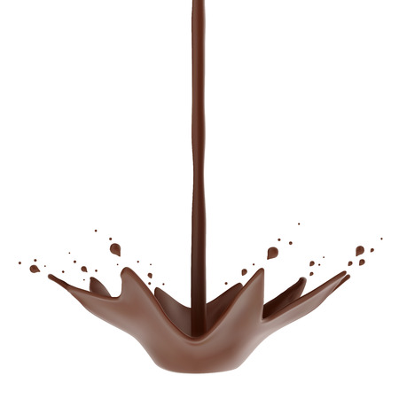 Hot chocolate flow with crown splash isolated . Vector illustration.