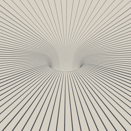 Black and white line design 3D hole abstract  . Vector illustration. Illustration