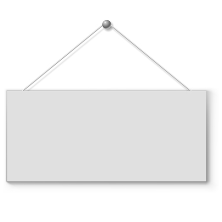 notice: Blank white door plate hanging on the string. Vector illustration.