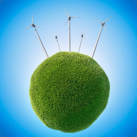 windpower: White wind mills on tiny globe covered with green grass. 3D illustration.