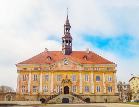 old building facade: Old Narva Town Hall main facade. The building dates back to the 17th century. Estonia. Stock Photo
