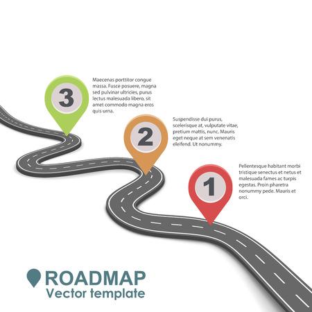 Illustrazione astratta di business roadmap infographic con modelli di vettore puntatori di colore. Strada semplice isolato su sfondo bianco.
