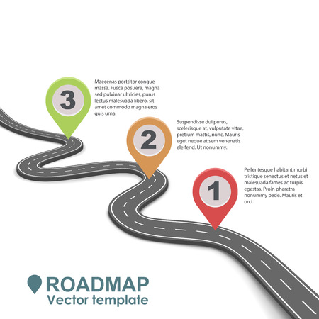 Abstract business roadmap infographic with color pointers vector template. Simple road isolated on white background.