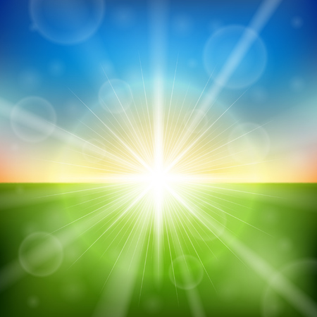 horizons: Bright sunrise lens flare vector background. Colorful spring backdrop. Illustration