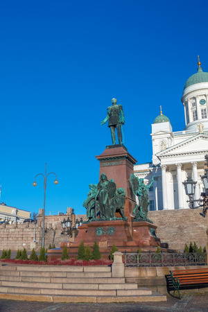 Statue of Alexander II on the Helsinki Senate Square, Finland. It was erected in 1894 to commemorate initiation of reforms that increased Finlands autonomy from Russia. Stock Photo
