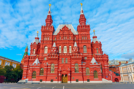 The State Historical Museum at Red Square in Moscow, Russia. It's the museum of Russian history which was established in 1872. Standard-Bild