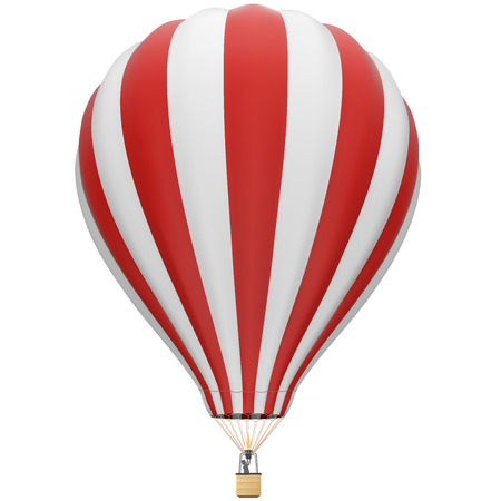 Big red and white hot air balloon isolated on white background. Vector illustration. Illustration