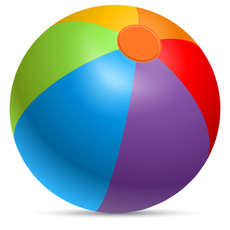 Colorful beach ball vector illustration. Rainbow colored beachball