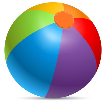 Colorful beach ball vector illustration. Rainbow colored beachball