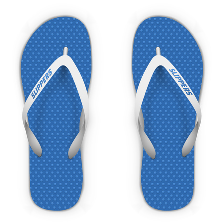 flipflop: Blue and white beach slippers isolated on white background. Flip flops top view vector template.