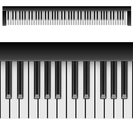 keys isolated: Classic piano horizontal keys isolated on white background. Top view. Vector illustration.