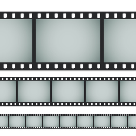 35 mm: Seamless standard 35mm photo or movie film isolated on white background. Vector illustration.