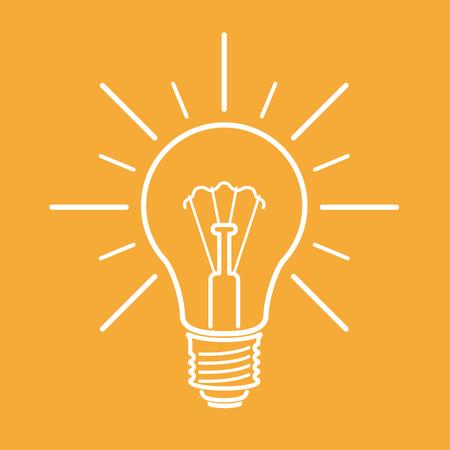 yellow line: White line art light bulb sign on yellow background. Vector illustration.