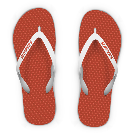 Red and white beach slippers isolated on white background. Flip flops top view vector template.