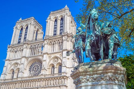 solider: Statue of Charlemagne in front of Notre Dame Cathedral, Paris, France.