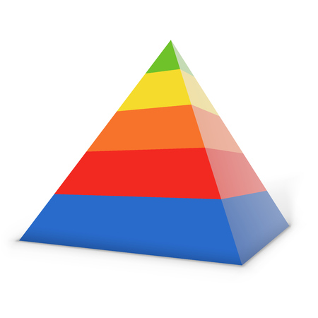 Colorful layered pyramid isolated on white background. Vector illustration.