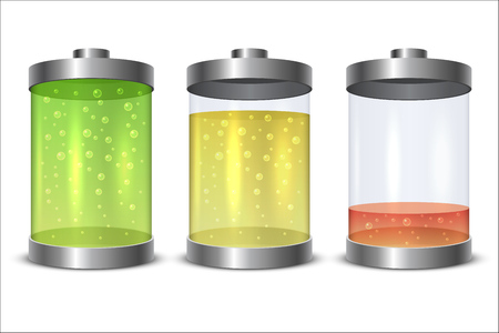 Glass and metal battery icon with charge level isolated. Illustration
