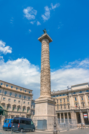 Column of Marcus Aurelius in the Piazza Colonna square in Rome, Italy. It was completed in 193 AD after emperors death.