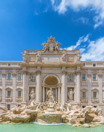 The Trevi Fountain on summer sunny day. One of the most famous fountains in Rome, Italy.