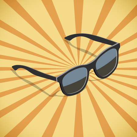 Sunglasses flat isometric design with yellow and orange sunburst vector poster template.