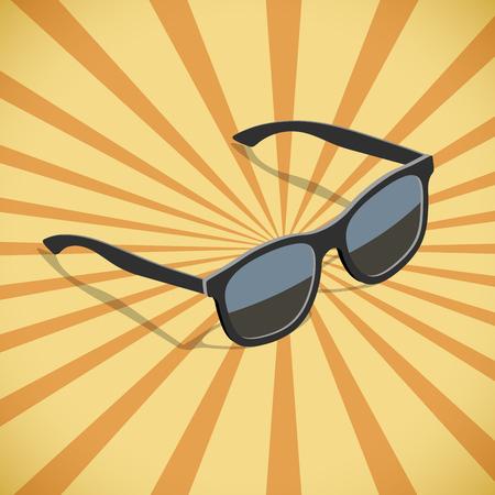 eyewear fashion: Sunglasses flat isometric design with yellow and orange sunburst vector poster template.