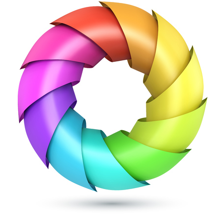 Colorful shells ring logo isolated on white background. Vector illustration.