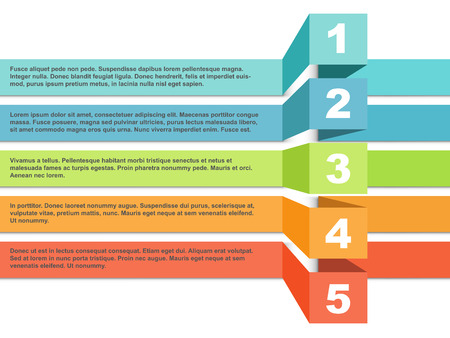 Color stripes infographic template with five steps or choice option with stand out effect. Vector illustration.