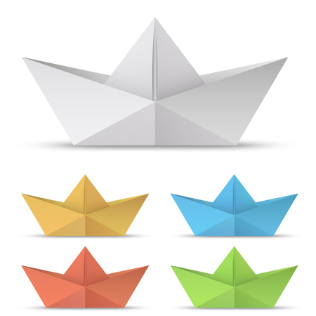 Folded paper boat vector set isolated on white background.