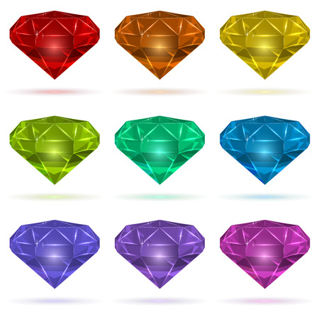Color gems set isolated on white background. Vector illustration.