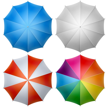 rainbow umbrella: Colorful umbrella top isolated on white background vector illustration.