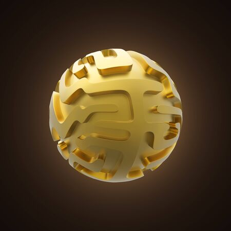 Gold sphere with maze pattern 3D illustration. Stock Photo