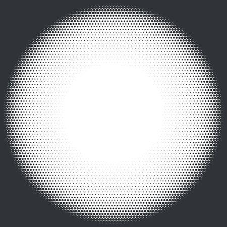 Black and white radial halftone background. Vector illustration.