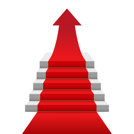 Red carpet stairs arrow concept image. Vector illustration. Illustration