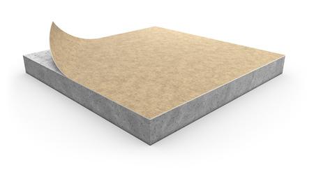 Concept d'installation de couverture de linoléum sur fond blanc. Illustration 3D