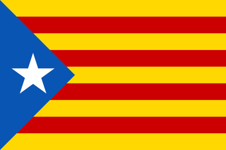 Estelada flag vector illustration. Symbol of the Catalonia independence movement.